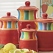 4 piece rainbow stripe canister set
