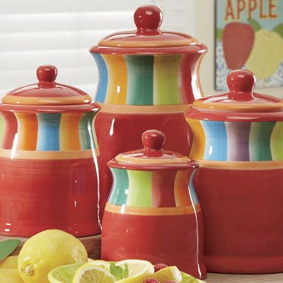 4-Piece Rainbow Stripe Canister Set