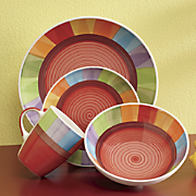 hand painted rainbow 16 pc dinnerware set