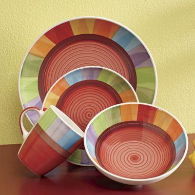 Hand-Painted Rainbow 16-Piece Dinnerware Set