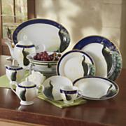 47-Piece Golden Peacock Dinnerware Set
