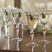 set of 4 golden peacock wine glasses