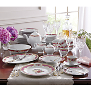47 piece cottage rose dinnerware set with gold accents