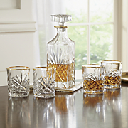 5 piece dublin gold banded decanter set