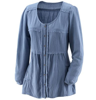 Button-Front Country Treasure Top