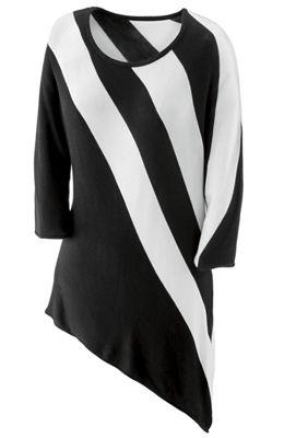 Aria Striped Asymmetrical Sweater