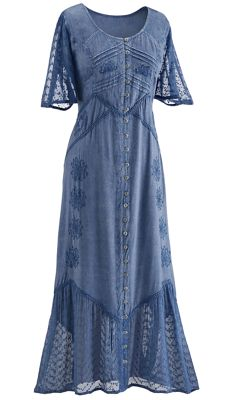 Kelsey Button-Front Embroidered Dress