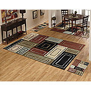 4 piece mod block rug set