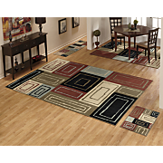 4 piece mod block rug set