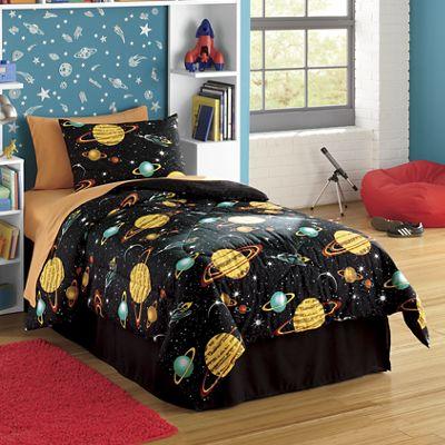 Glow-In-The-Dark Rocket Star Comforter Set