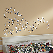 24-Piece Mirrored Bird Sticker Set