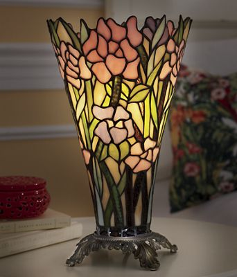 Pink Orchid Stained Glass Lamp