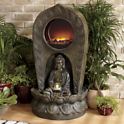 buddha fountain fireplace
