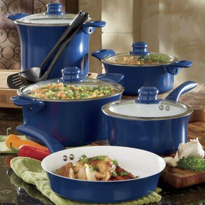 11-Piece Aluminum Cookware Set with Nonstick Ceramic Coating