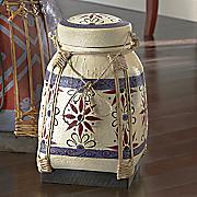 hand painted cream rice basket