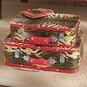set of 2 tiger suitcases