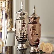 set of 2 liquid bronzetone urns