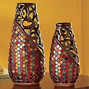 set of 2 mosaic mediterranean sea vases