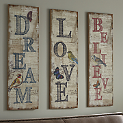 Dream, Love and Believe Wall Plaques