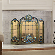 green seashell stained glass fireplace screen