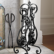 wrought iron fireplace tools with stand