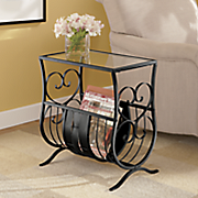 black scroll magazine rack