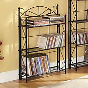 blackjack scroll 3 shelf media rack