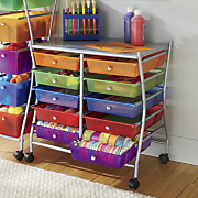 10 drawer wide multi color storage cart
