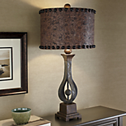 Stamped Floral Faux Leather Lamp
