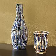 blue mosaic vase and candleholder