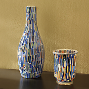 blue mosaic vase and candleholder