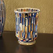 blue mosaic candleholder