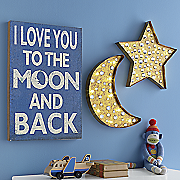 lit moon and star wall hangings