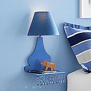 space saving wall shelf with lamp
