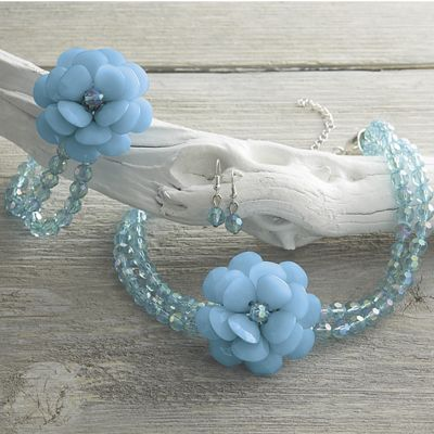 Flower Beaded Necklace/Earring Set and Stretch Bracelet
