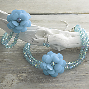 flower beaded necklace earring set and stretch bracelet