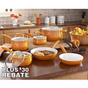 Paula Deen 12-Piece Orange Savannah Cookware Set