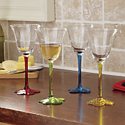 set of 4 assorted floral wine glasses