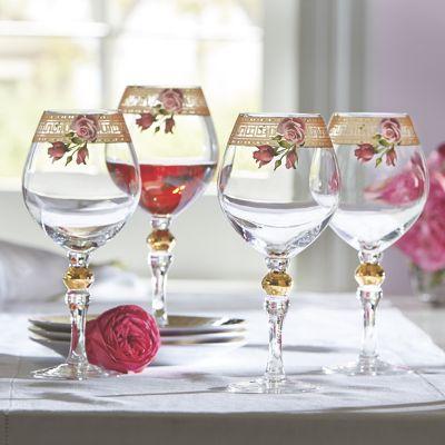 Set of 4 Floral Greek Key Wine Glasses