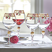 set of 4 floral greek key wine glasses
