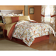 8-Piece Leaf Vine Complete Bed Set, Accent Pillow and Window Treatments