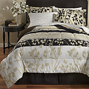 8-Piece Turnstyle Belcourt Complete Bed Set, Accent Pillow and Window Treatments