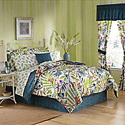 8-Piece Watercolor Birds Complete Bed Set, Accent Pillow and Window Treatments