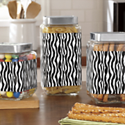 Set of 3 Zebra Canisters