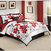 7-Piece Sketchbook Blooms Bed Set and Window Treatments