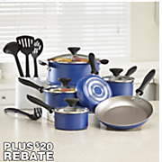 14 pc aluminum champagne cookware set with 20 rebate by farberware