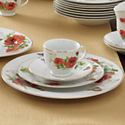 47-Piece Poppy Chic Dinnerware Set with Yellow Gold Rims From Occasions ™ by Montgomery Ward ®