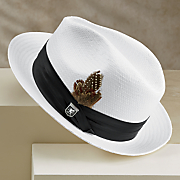 white fedora by stacy adams