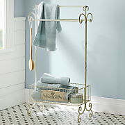 standing towel rack with basket
