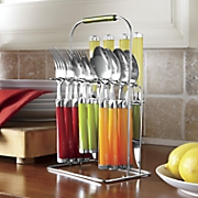 16-Piece Fiesta Multi Flatware Set with Rack